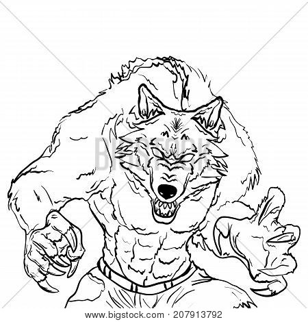 Sketch tattoo illustration of werewolf isolated on white background