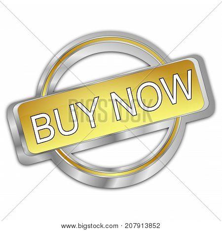 silver golden Buy now Button - 3d Illustration
