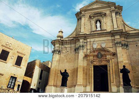 The Gozo Cathedral inside the Citadel of Victoria or Rabat - Victoria, Gozo, Malta .