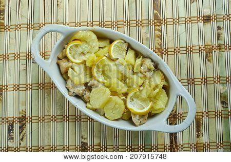 lemon chicken potato casserole , close up