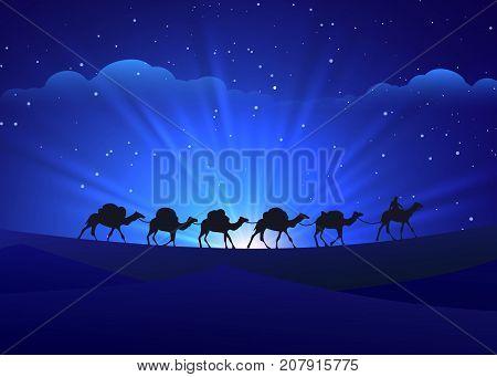 Night background with walking camel caravan, vector illustration