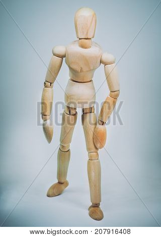Wooden dummy model. Retro filter and selective focus