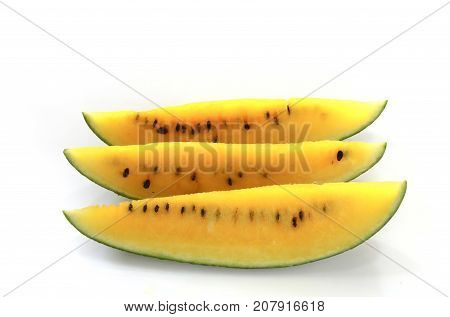 Tree sliced watermelon,isolated watermelon ,melon,slice melon on white background