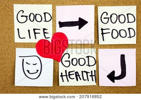 healthy lifestyle concept - good food, health and life - reminder words handwritten of sticky notes Healthy life concept with red heart