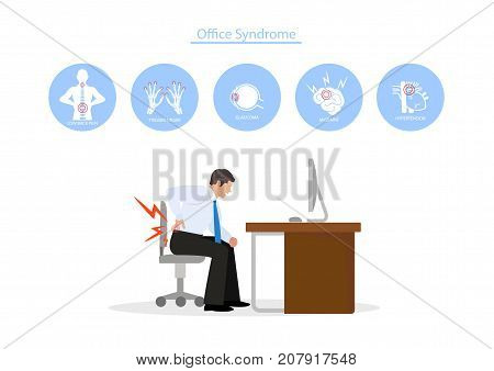 illustrator businessman work with Office Syndrome Concept.