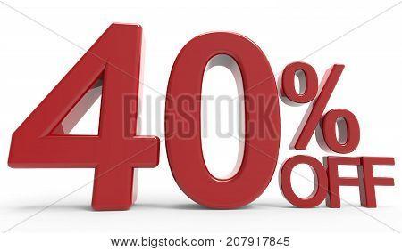 3D Rendering Of A 40% Off Symbol