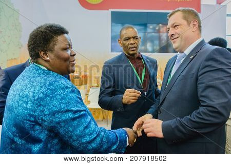 Moscow Russia VDNH- OCTOBER 4-7 2017: Russian agro-industrial exhibition Golden autumn. Representative Ryazan region- delegation of South Africa (Free State Province)