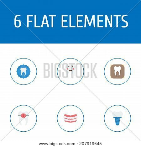 Flat Icons Implantation, Enamel, Brace And Other Vector Elements