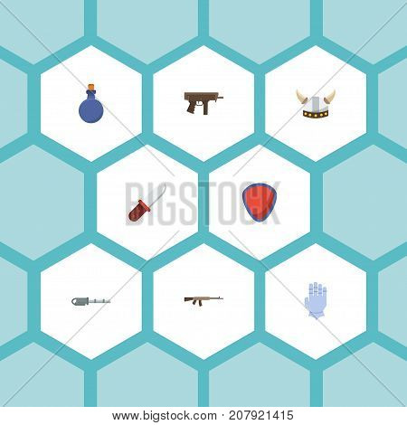 Flat Icons Gloves, Assault Rifle, Flask And Other Vector Elements
