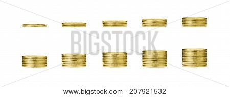 pile of gold coins stack and growing money graph on 1 to 10 rows of golden coin isolated on white background with clip path. Income profits finance Investment Interest and Saving money concept.