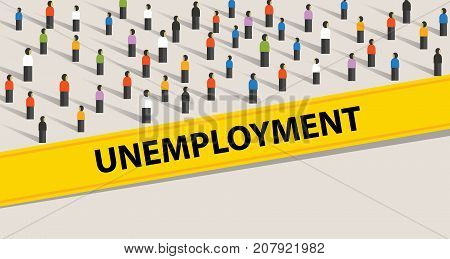 unemployment rate people protesting crowd illustration many people looking for a job vector poster