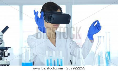 Scientist Using Virtual Reality Glasses For In Laboratory, Vr Goggles