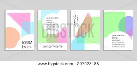 Flat Geometric Covers Design. Colorful Modernism. Future Geometric Background. Vector Templates For