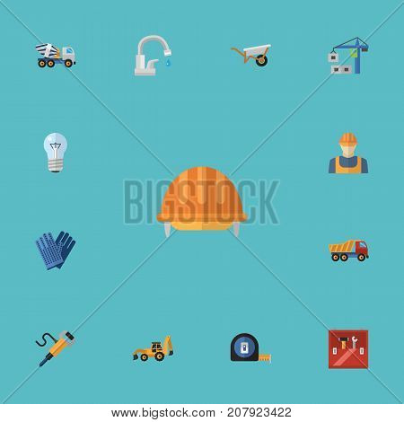 Flat Icons Toolkit, Excavator, Worker And Other Vector Elements