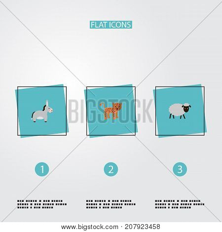 Flat Icons Mutton, Jackass, Panther And Other Vector Elements
