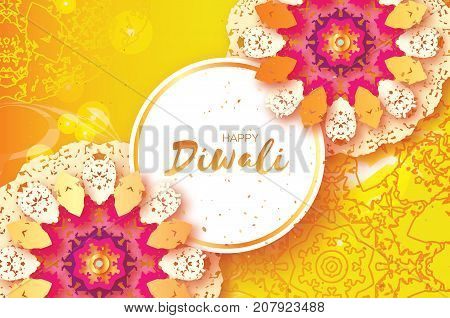 Happy Diwali. Indian celebration in paper cut style. Origami Beautiful Hindu festival of lights. Colorful Mandala. Yellow background. Vector illustration