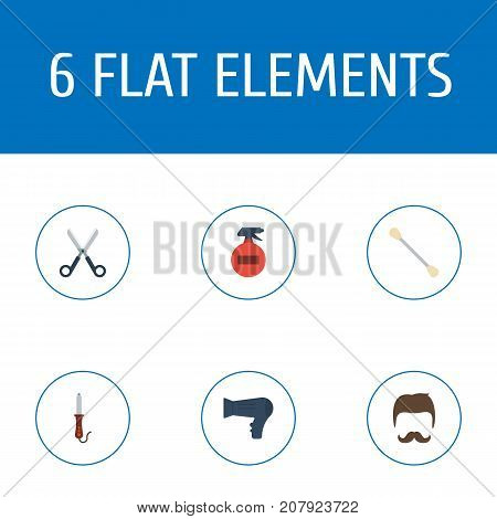 Flat Icons Cotton Buds, Hairstylist, Shears And Other Vector Elements