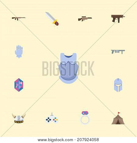 Flat Icons Gem, Gun, Bulletproof And Other Vector Elements