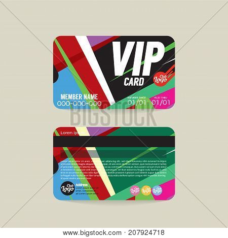 Front And Back VIP Member Card Template Vector Illustration. EPS 10