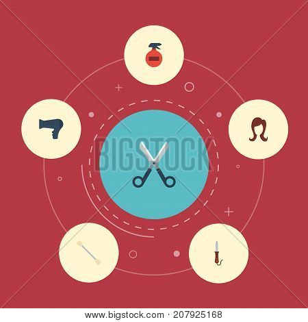 Flat Icons Cotton Buds, Blow-Dryer, Spray And Other Vector Elements