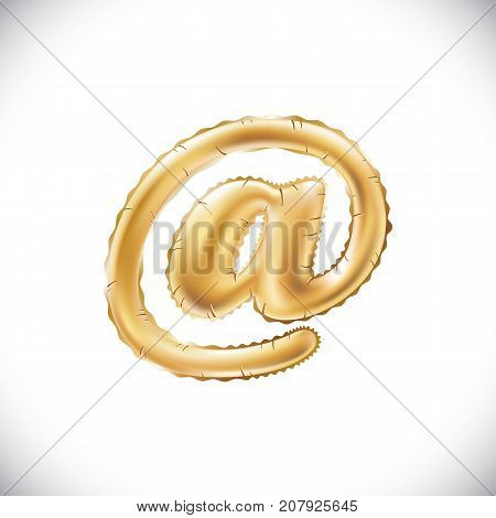 Balloon Mail Symbol. Realistic 3D Isolated Gold Helium Balloon Golden Font Text. Special Sign Decora