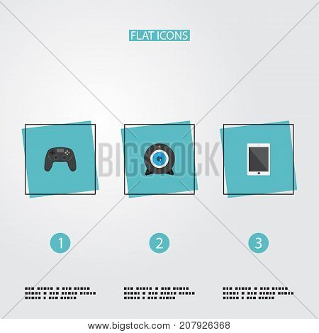 Flat Icons Controller, Palmtop, Web Cam And Other Vector Elements