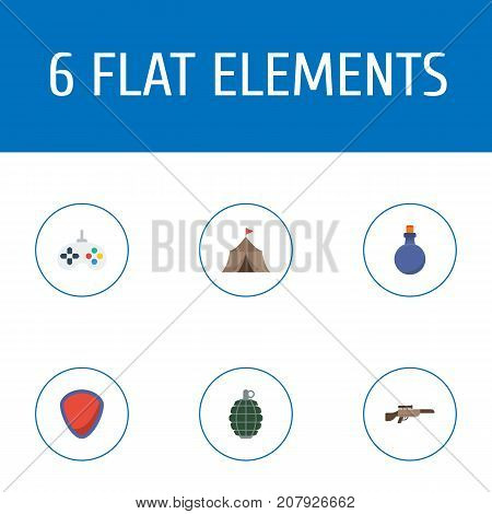 Flat Icons Game, Shotgun, Tent And Other Vector Elements