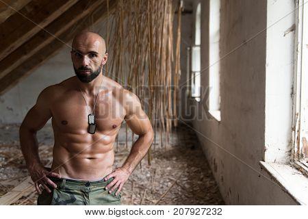 Muscular Model Flexing Muscles In Shelter