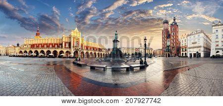 Krakow Market Square Poland, panoramic view at sunset