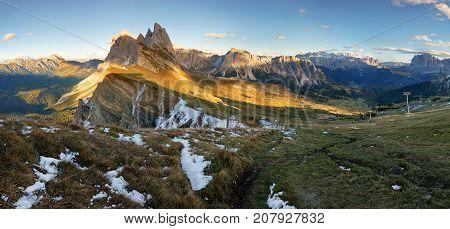 Meadow on Seceda plateau in Val Gardena Italy Europe