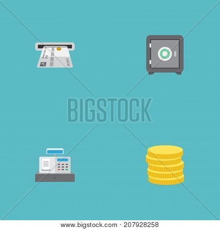 Flat Icons Teller Machine, Small Change, Strongbox And Other Vector Elements