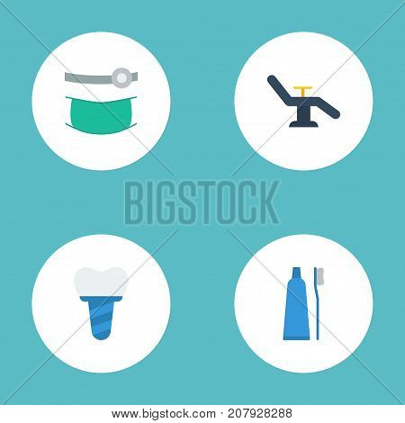 Flat Icons Implantation, Toothbrush, Furniture And Other Vector Elements
