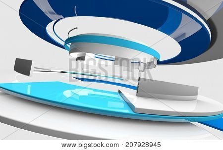 3D glossy reflective white and blue curved shapes. TV news, broadcasting, technology, science and engineering concept. Realistic shadows and reflections. 3D rendering.