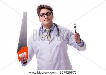 Funny doctor with saw isolated on white
