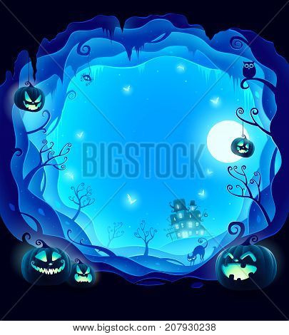 Halloween layered border for design. Halloween background with 3D paper cut border. Blue background.