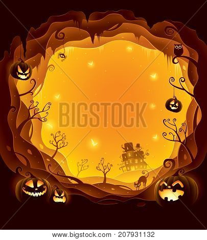 Halloween layered border for design. Halloween background with 3D paper cut border. Orange background.