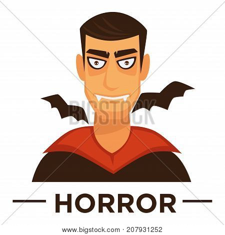 Movie genre icon logo horror of vampire man and bats. Vector flat isolated symbol template for cinema or channel movie horror genre emblem