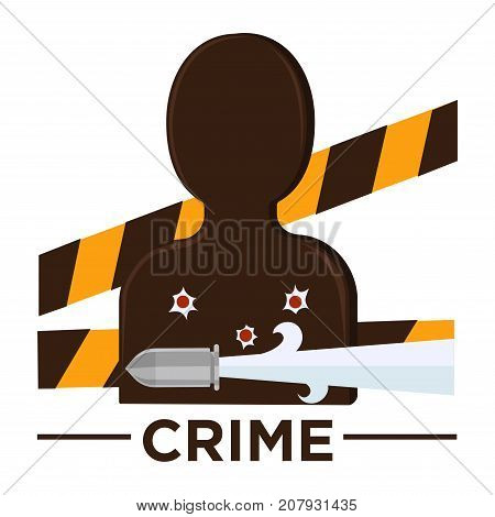 Movie genre icon logo crime of man target silhouette, bullet holes and criminal police tape band. Vector flat isolated symbol template for cinema or channel movie crime genre emblem