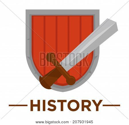 Movie genre icon logo history of ancient royal sword and knight shield. Vector flat isolated symbol template for cinema or channel movie history genre emblem