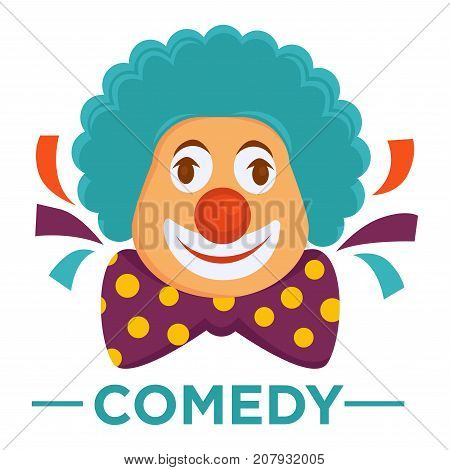 Movie genre icon logo comedy of clown laughing smiling in wig. Vector flat isolated symbol