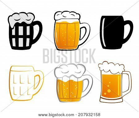 Set mugs of beer. Mug of beer with foam on white background. Lager beer icon. Vector illustration Mugs for beer in flat style.