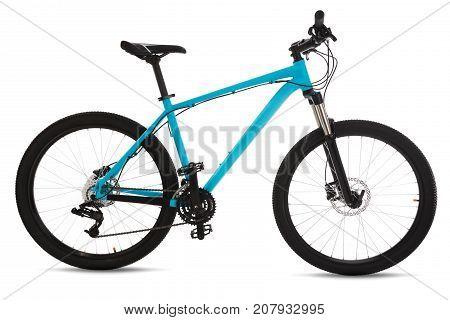 Blue mountain bike isolated on white background.