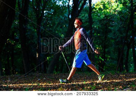 Nordic Walking In The Autumn Forest Between The Leaves