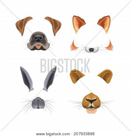 Animal face video chat animated effect or selfie photo filter templates for smartphone camera application. Dog or cat and bunny or puma panther nose and ears cartoon mask vector flat isolated icons