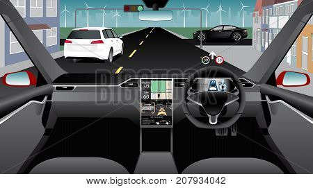 Self driving car without driver on a city street. Indoor view. Vector illustration.