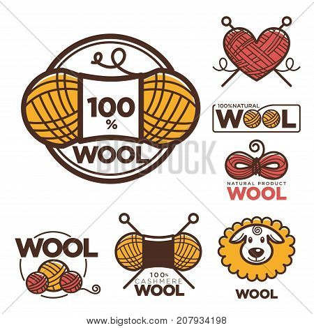 Wool labels or logo for pure 100 percent natural sheep wool textile tags. Vector isolated icons set for clothing label or eco fabric design template of wool clew or yarn coil and knitting needles