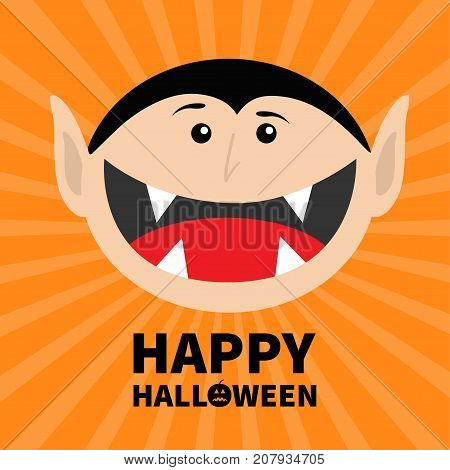 Happy Halloween pumpkin text. Count Dracula head face. Cute cartoon vampire character with fangs. Big mouth tongue. Baby greeting card. Flat design. Orange starburst background. Vector illustration