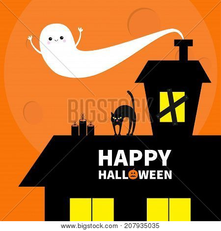 Haunted house roof attic loft. Light on boarded-up windows. Cat arch back. Flying ghost. Pumpkin Candles. Happy Halloween. Big moon Funny cartoon character Orange background. Flat design Vector