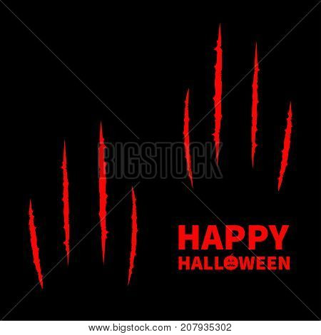 Happy Halloween pumpkin text. Two red bloody claws animal scratch scrape track set. Cat tiger scratches paw. Four nails trace. Flat design. Black background. Vector illustration