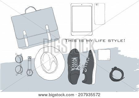 Vector illustration of Hand drawn, doodle flat lay coordination. folded shirt, tie, trousers, shoes, spectacles and belt. Male clothes collage. Top views. Template for blogger, social media